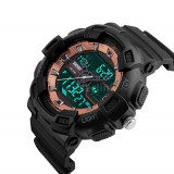 Skmei ceas sport dual analog digital negru (C49) - Ceas barbatesc, Quartz, Silicon, Nou