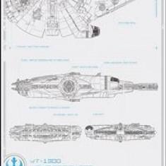 Poster Star Wars Episode 7 Millennium Falcon Blue Print Glass - Afis