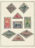 RFL Rusia Tannu - Touva 8 timbre stampilate tematice lipite pe foaie de album