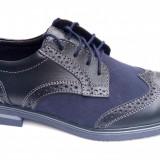 Pantofi barbati casual-eleganti din piele naturala bleumarin Cod: 411BLM - Pantof barbat, Marime: 39, 40, 42, 43, 44