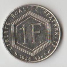 Moneda 1 franc 1988 - Franta, Charles de Gaulle, Europa