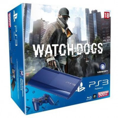 Consola Sony Ps3 Slim 500Gb Blue Plus Joc Watch Dogs - Consola PlayStation, PlayStation 3