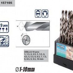 Set burghie HSS cromate 19 buc (1-10 mm), Raider