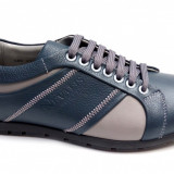 Pantofi barbati casual bleumarin din piele naturala cu siret - Model 580BL - Pantof barbat, Marime: 39, 40, 41, 42, 43, 44