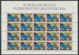 1967 Liechtenstein EUROPA colita 20 timbre model roti dintate nestampilate
