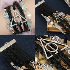 Bratara Harry Potter Style - Golden Snitch, Owl, Talismanele Mortii - Bratara Fashion
