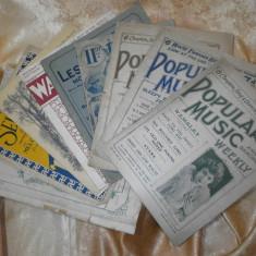 Set 9 partituri, scoruri muzicale, anul 1924, colectie, cadou, vintage