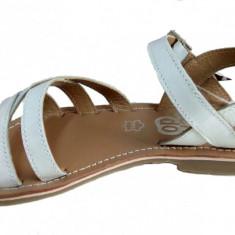 Sandale fetite piele naturala albe - cod DOL15, Marime: 35, 36