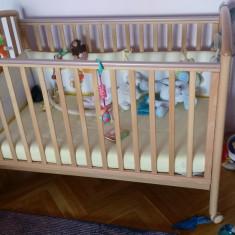 Patut Pali Ciak Natural cu saltea de Cocos si protectie - Patut lemn pentru bebelusi Pali, 125X65cm, Maro