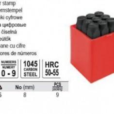 Poansoane cifre, 9 buc, 8 mm, YATO YT-6855