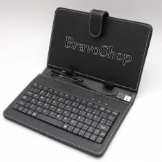 Husa din piele pentru tableta de 7'' (inch) cu tastatura / Tastatura tableta 7 inch si husa - Disponibil pe Negru - Husa tableta cu tastatura