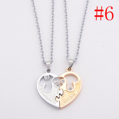 Pandantiv / Colier / Lantisor - Pentru Cuplu - Set inima 2 Bucati - Model 6 - Pandantiv fashion
