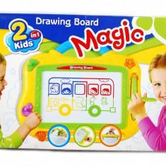 Tablita magnetica (2 in 1) cu 4 culori - Tabla desen cu autostergere si 3 stampilute Magice - Jocuri arta si creatie
