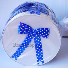 Cutie dar baieti pentru botez - model albastru - Lumanari botez