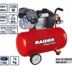 Compresor cu 2 pistoane 100L, Raider RD-AC03 - Compresor Service