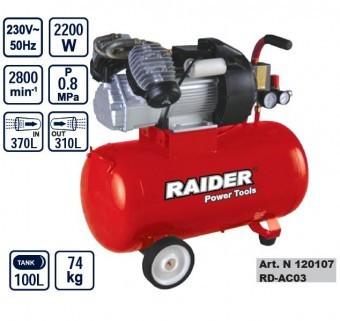 Compresor cu 2 pistoane 100L, Raider RD-AC03 foto mare