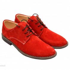 Pantofi rosii barbati piele naturala velur casual-office - cod P73 - Pantofi barbat, Marime: 37, 38, 39, 40, 41, 42, 43, 44, 45, Culoare: Bleumarin, Maro, Negru, Rosu