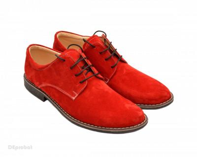 Pantofi rosii barbati piele naturala velur casual-office - cod P73 foto