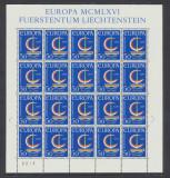 1966 Liechtenstein EUROPA colita de 20 timbre model barca nestampilate MNH