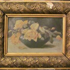 """PVM - Tablou vechi """"Vas cu Trandafiri Galbeni"""" u / c nesemnat nedatat"""
