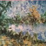LANGA LAC, Peisaje, Acuarela, Pointillism