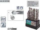 Set burghie HSS cromate 25 buc (1-13 mm), Raider