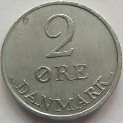 Moneda 2 Ore - DANEMARCA, anul 1960 *cod 3845 Zinc foto