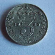 Moneda de argint 3 pence 1920 Anglia 1204, Europa