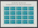 1971 Liechtenstein EUROPA colita 20 timbre model lant nestampilate