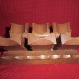 Suport sustinere pentru 3 pipe din lamn masiv 17 cm - Metal/Fonta, Sfesnice