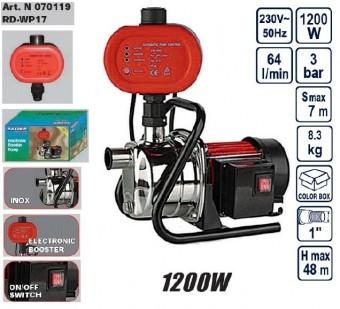 Pompa din inox cu presostat electronic 1200W, Raider RD-WP17 foto mare