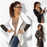 Fashion Women Casual Jacket Blazer Knitwear Cardigan Open Coat Long Tops Outwear, Marime: 30, Culoare: Alb
