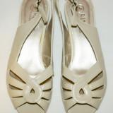 Sandale bej piele ecologica, 36, noi - Sandale dama