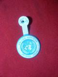 Insigna ONU Guided Tour , tabla si email , d= 2,5 cm