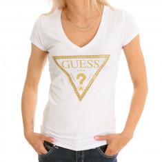 Tricou GUESS - Tricouri Dama, Femei - 100% AUTENTIC - Tricou dama Guess by Marciano, Marime: S, Culoare: Alb, Cu aplicatii, Maneca scurta, Casual
