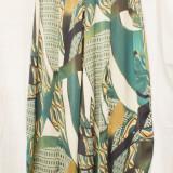 Pantaloni/Salvari din matase cu imprimeu abstract made in Italy, noi - Pantaloni dama, Marime: L/XL, Culoare: Din imagine
