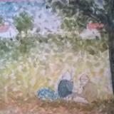 MARGINE DE SAT, TARANI ODIHNINDU-SE, Peisaje, Acuarela, Pointillism