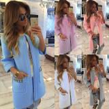 New 2016 Women Autumn Long Line Sleeve Cardigan Warm Overcoat Blazer Jacket Coat, Marime: 30, Culoare: Albastru