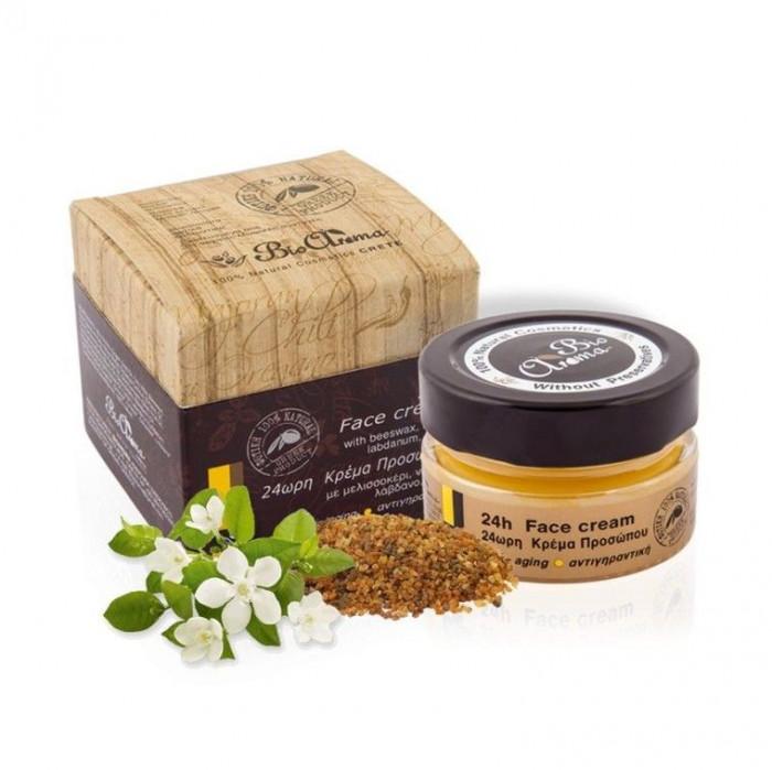 Crema de fata 24h anti-aging cu ceara albine, neroli, labdanum, mirt 40 ml foto mare