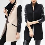 Women Winter Black Pu Long Sleeve Collar Warm Jacket Woolen Coat Outwear S-XL, Marime: 33, Culoare: Cappuccino