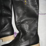 Cizme lungi piele cu model, NOI Mar 40 - Cizma dama, Culoare: Negru, Piele sintetica