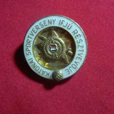Insigna Militara Competitie Fotbal pe Unitate Ungaria anii'50, h=3, 8 cm