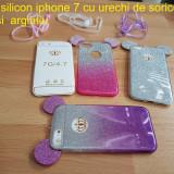 Husa silicon iphone 7 cu urechi de soricel roz mov si argintiu - Husa Telefon