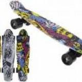 Skateboard copii longboard model Retro Multicolor 57cm lungime 50kg