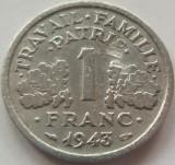 Moneda 1 Franc - FRANTA, anul 1943 *cod 3890 Allu., Europa, Aluminiu