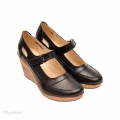 Pantofi dama piele naturala negri cu platforma cod P74 - Made in Romania - Pantof dama, Culoare: Negru, Marime: 35, 36, 37, 38, 39, 40