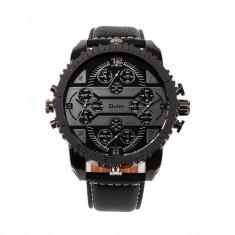 Ceas militar Oulm Quartz Chronograph 4-Dial 3233, negru - Ceas barbatesc