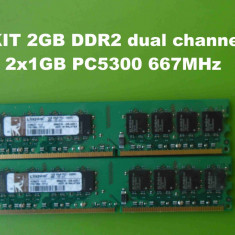 Memorie RAM PC DDR2 2GB KIT PC5300 667MHz Kingston, Dual channel