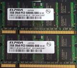 Kit 4Gb 2x 2Gb DDR2 laptop 2 x ELPIDA 2GB 2Rx8 PC2-6400S-666 12luni garantie, 4 GB, 667 mhz