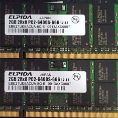 Kit 4Gb 2x 2Gb DDR2 laptop 2 x ELPIDA 2GB 2Rx8 PC2-6400S-666 12luni garantie